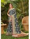 Grey Latest Party Wear Designer Silk Sari