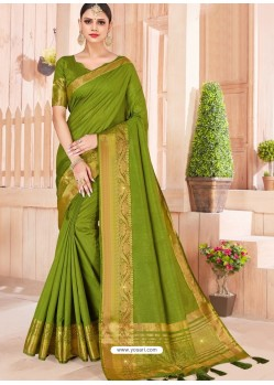 Parrot Green Latest Party Wear Designer Silk Sari