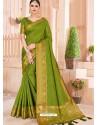 Parrot Green Latest Party Wear Designer Silk Sari