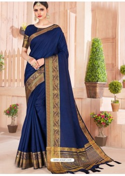 Royal Blue Latest Party Wear Designer Silk Sari