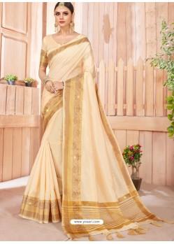 Cream Latest Party Wear Designer Silk Sari