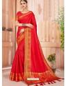 Red Latest Party Wear Designer Silk Sari