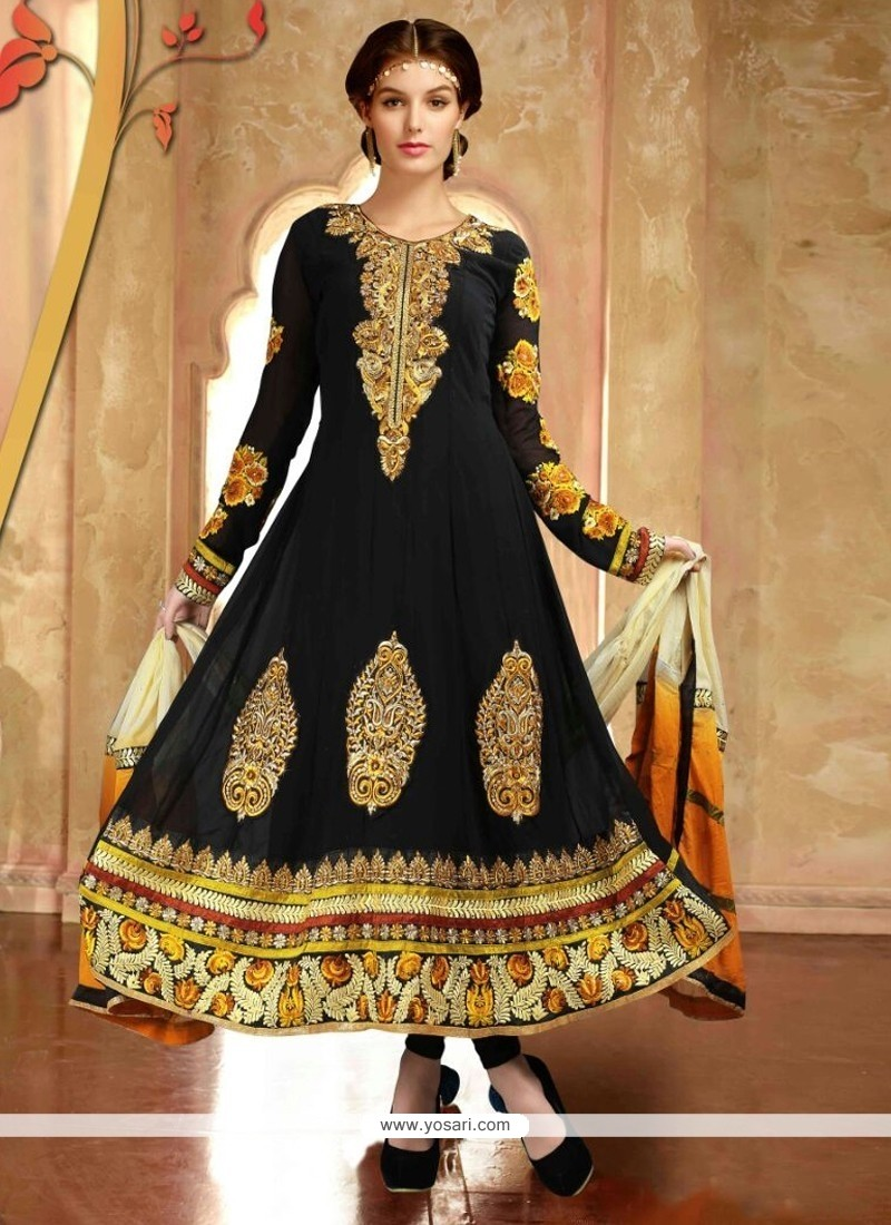 Sophisticated Georgette Black Anarkali Salwar Suit