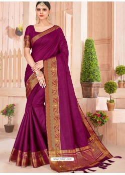 Purple Latest Party Wear Designer Silk Sari