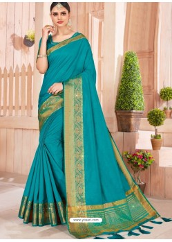 Blue Latest Party Wear Designer Silk Sari