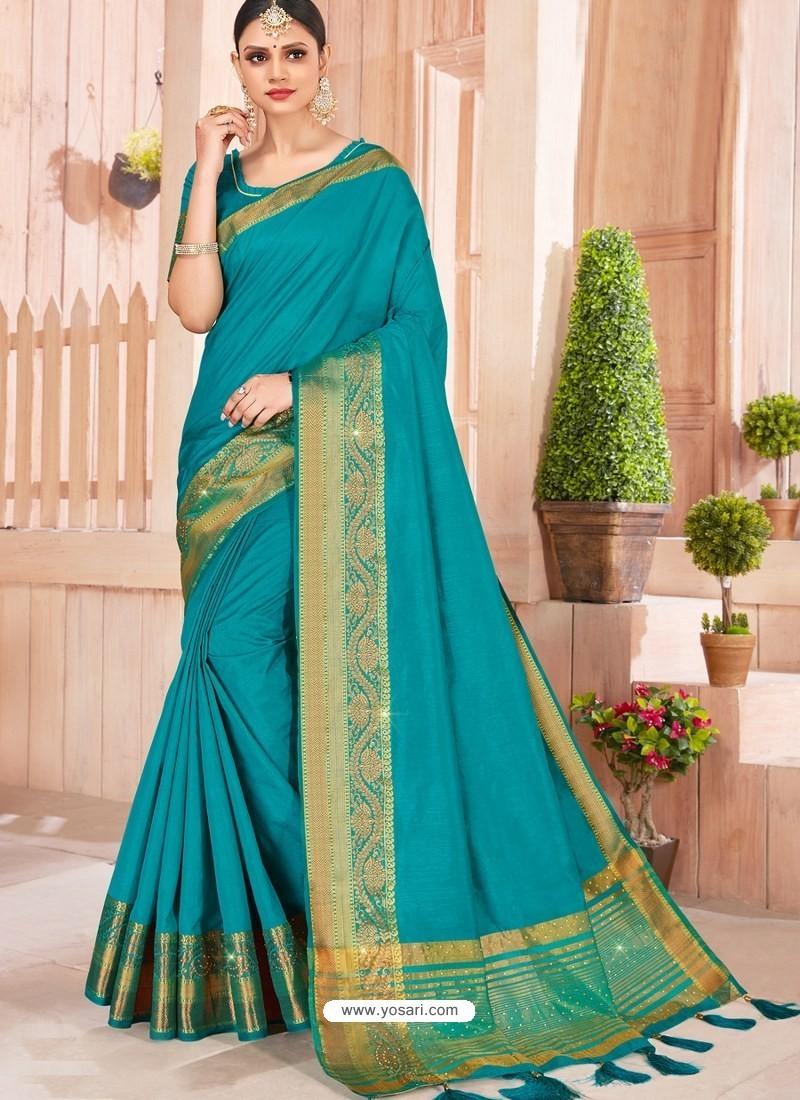 Blue Latest Party Wear Designer Silk Sari