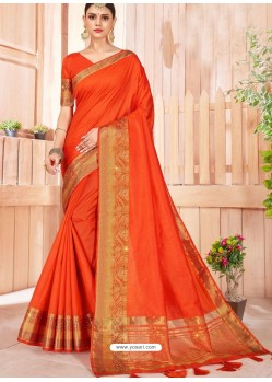 Orange Latest Party Wear Designer Silk Sari