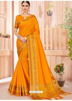 Mustard Latest Party Wear Designer Silk Sari