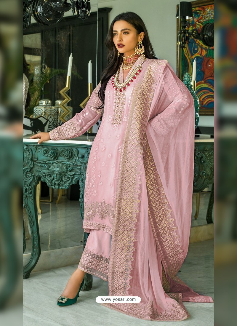 Pink Heavy Designer Party Wear Georgette Palazzo Suit
