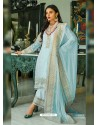 Sky Blue Heavy Designer Party Wear Georgette Palazzo Suit