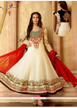 Transcendent Off White Georgette Anarkali Salwar Suit