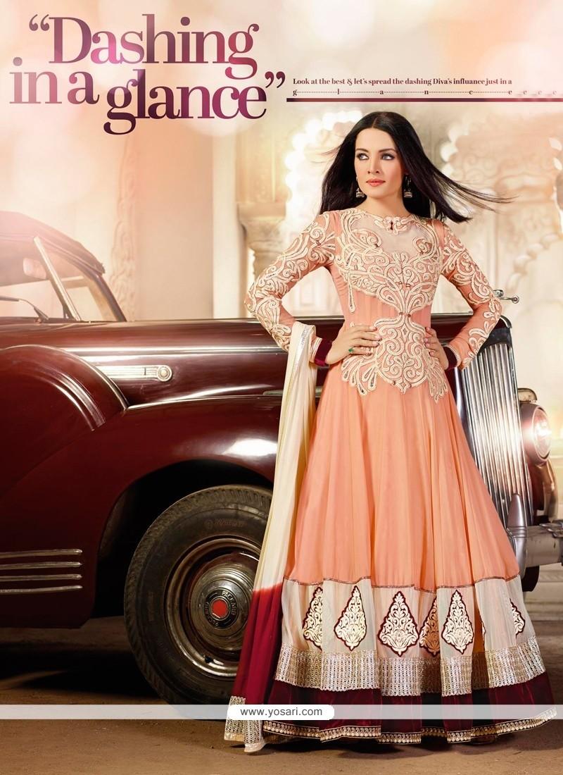 Celina Jaitly Peach Georgette Anarkali Salwar Kameez