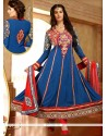 Vivacious Lace Work Blue Georgette Anarkali Suit