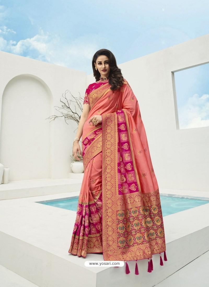 Light Red Latest Party Wear Designer Banarasi Silk Sari