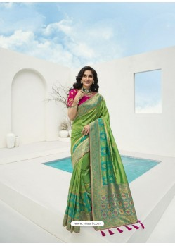 Parrot Green Latest Party Wear Designer Banarasi Silk Sari