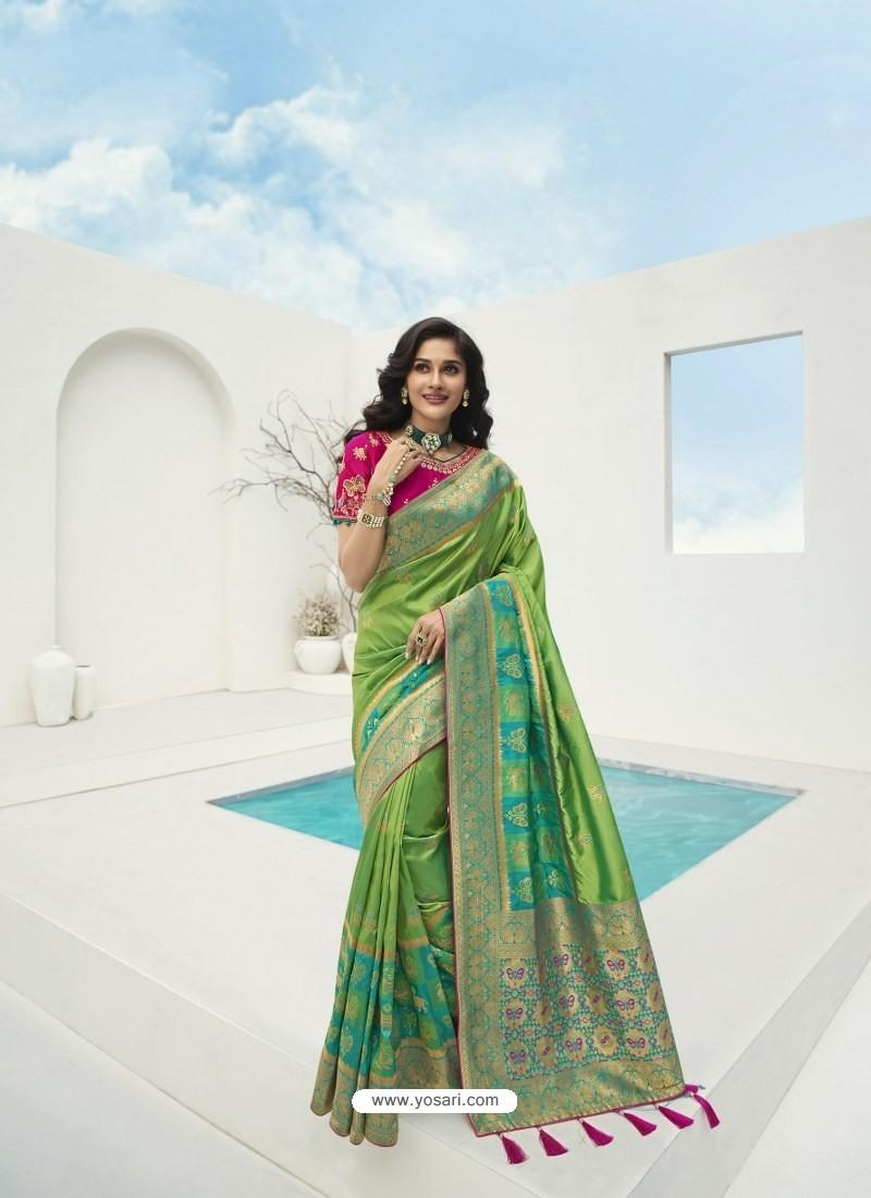 Parrot Green Latest Party Wear Designer Banarasi Silk Sari