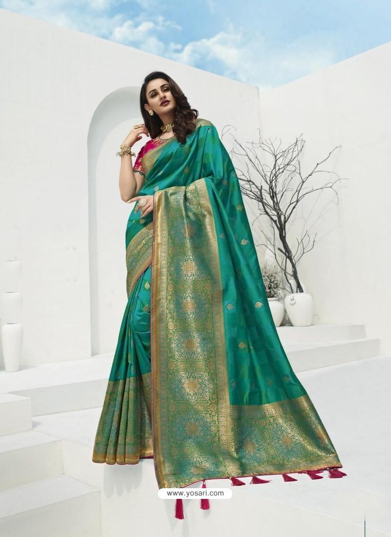 Turquoise Latest Party Wear Designer Banarasi Silk Sari