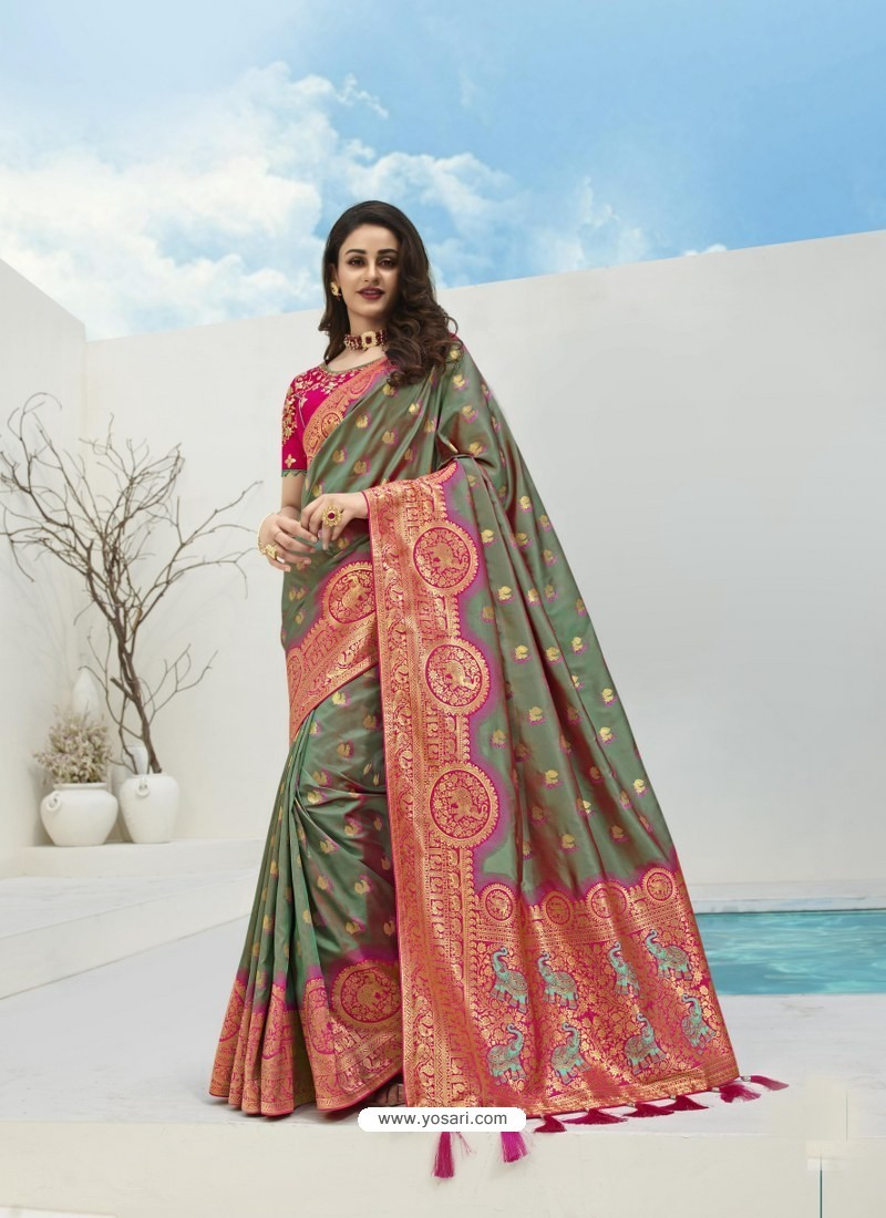 Mehendi Latest Party Wear Designer Banarasi Silk Sari