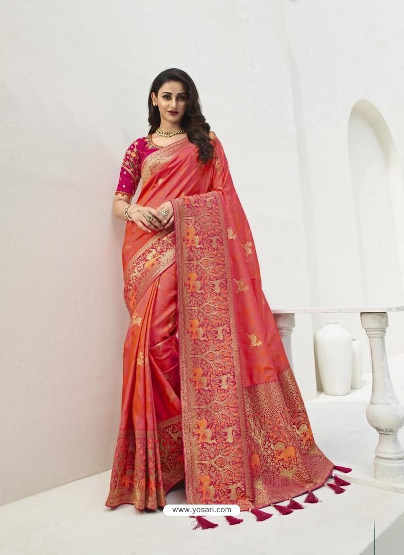 Dark Peach Latest Party Wear Designer Banarasi Silk Sari