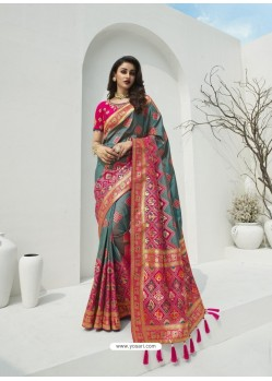 Grey Latest Party Wear Designer Banarasi Silk Sari