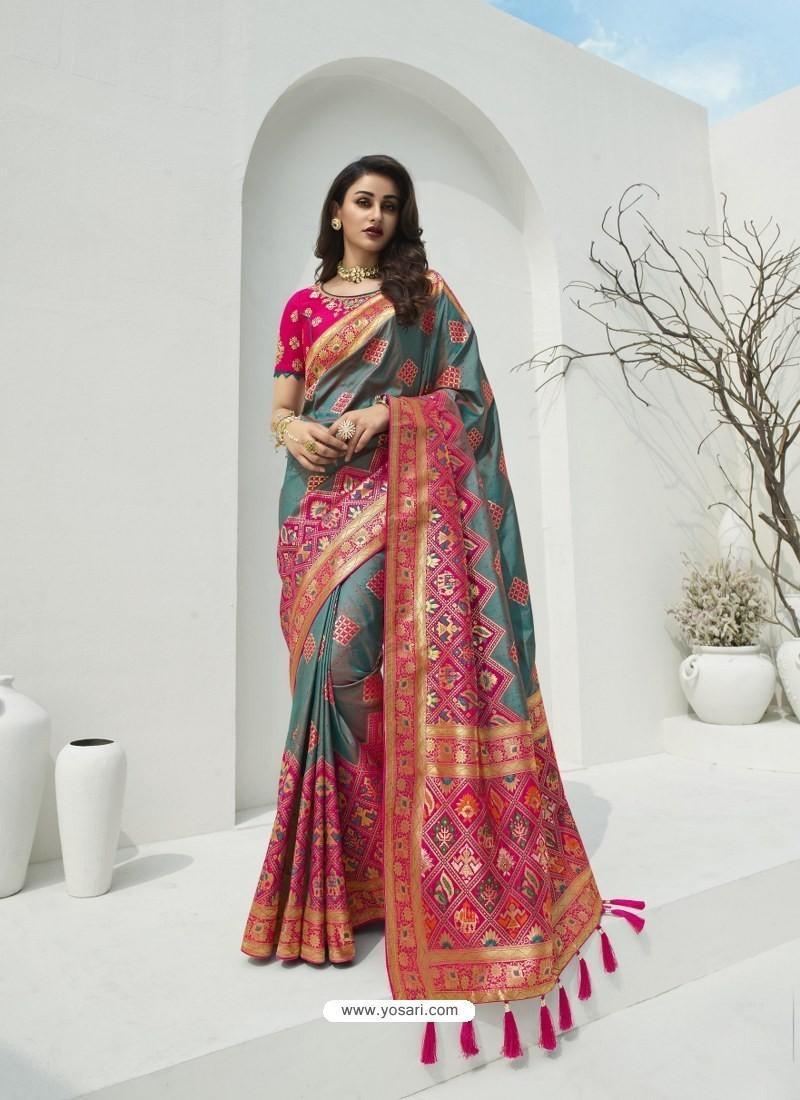 Grey Latest Party Wear Designer Banarasi Silk Sari