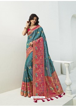 Blue Latest Party Wear Designer Banarasi Silk Sari