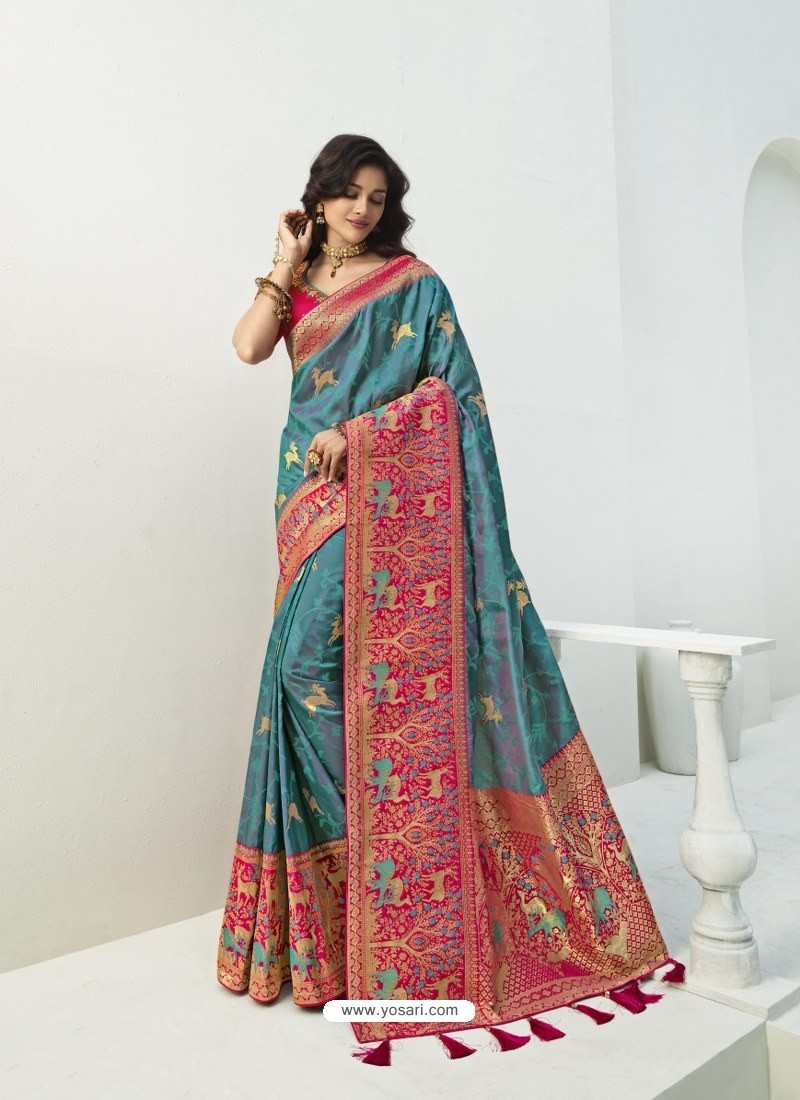 Blue Latest Party Wear Designer Banarasi Silk Sari