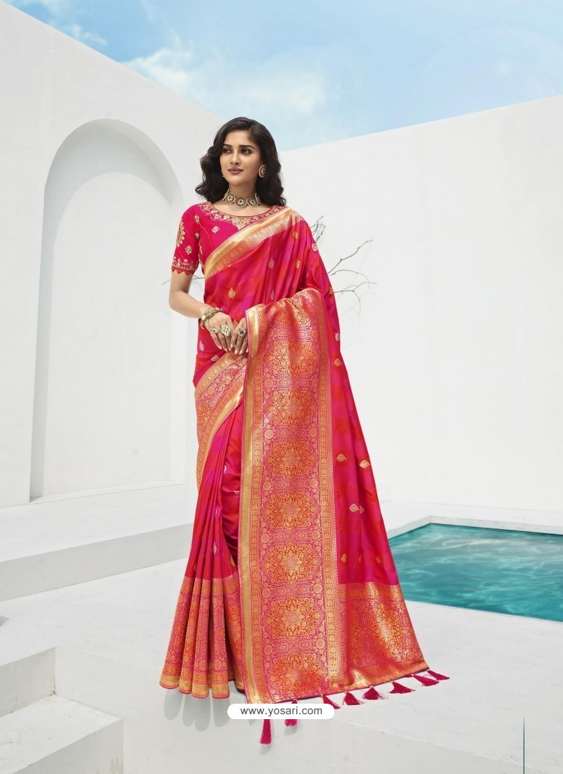 Rani Latest Party Wear Designer Banarasi Silk Sari