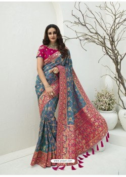 Pigeon Latest Party Wear Designer Banarasi Silk Sari