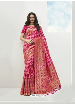 Pink Latest Party Wear Designer Banarasi Silk Sari