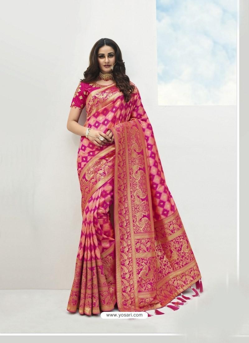 Pink Latest Party Wear Designer Banarasi Silk Sari