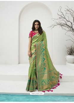 Green Latest Party Wear Designer Banarasi Silk Sari