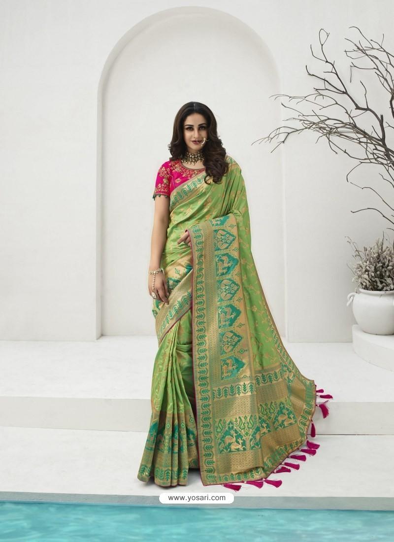 Green Latest Party Wear Designer Banarasi Silk Sari