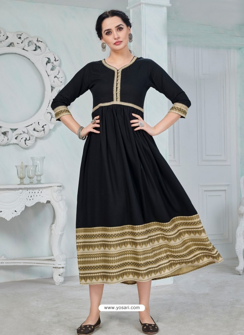 Black Designer Anarkali Style Party Wear Rayon Kurti