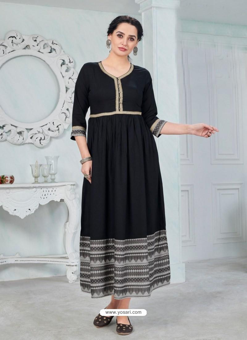 Scintillating Black Designer Anarkali Style Party Wear Rayon Kurti