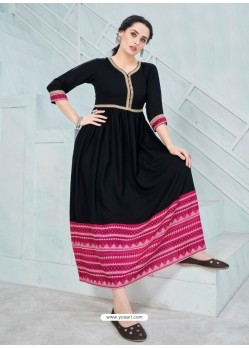Groovy Black Designer Anarkali Style Party Wear Rayon Kurti