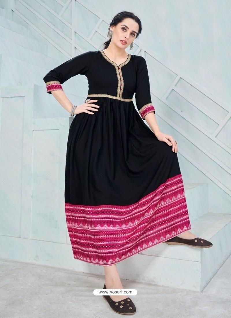 Groovy Black Designer Anarkali Style Party Wear Rayon Kurti