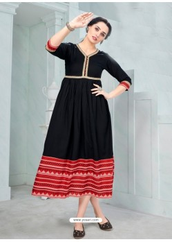 Black Designer Anarkali Style Party Wear Rayon Kurti