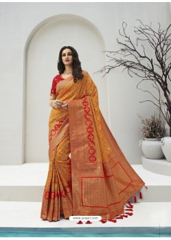 Orange Latest Party Wear Designer Banarasi Silk Sari