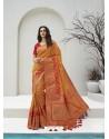 Orange Latest Party Wear Designer Banarasi Silk Sari