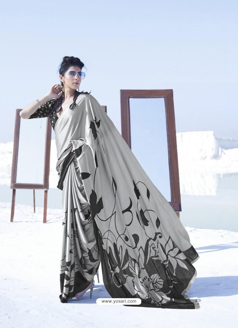 Light Grey Latest Casual Designer Japan Satin Crepe Sari