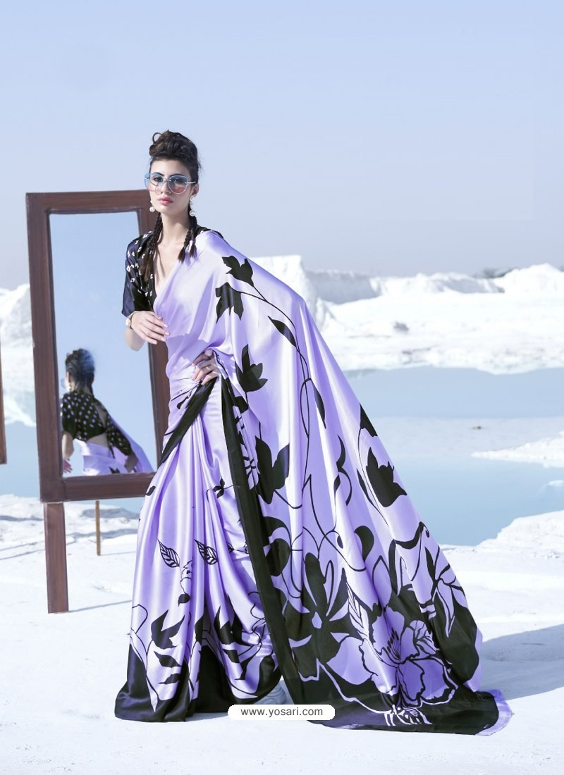 Mauve Latest Casual Designer Japan Satin Crepe Sari