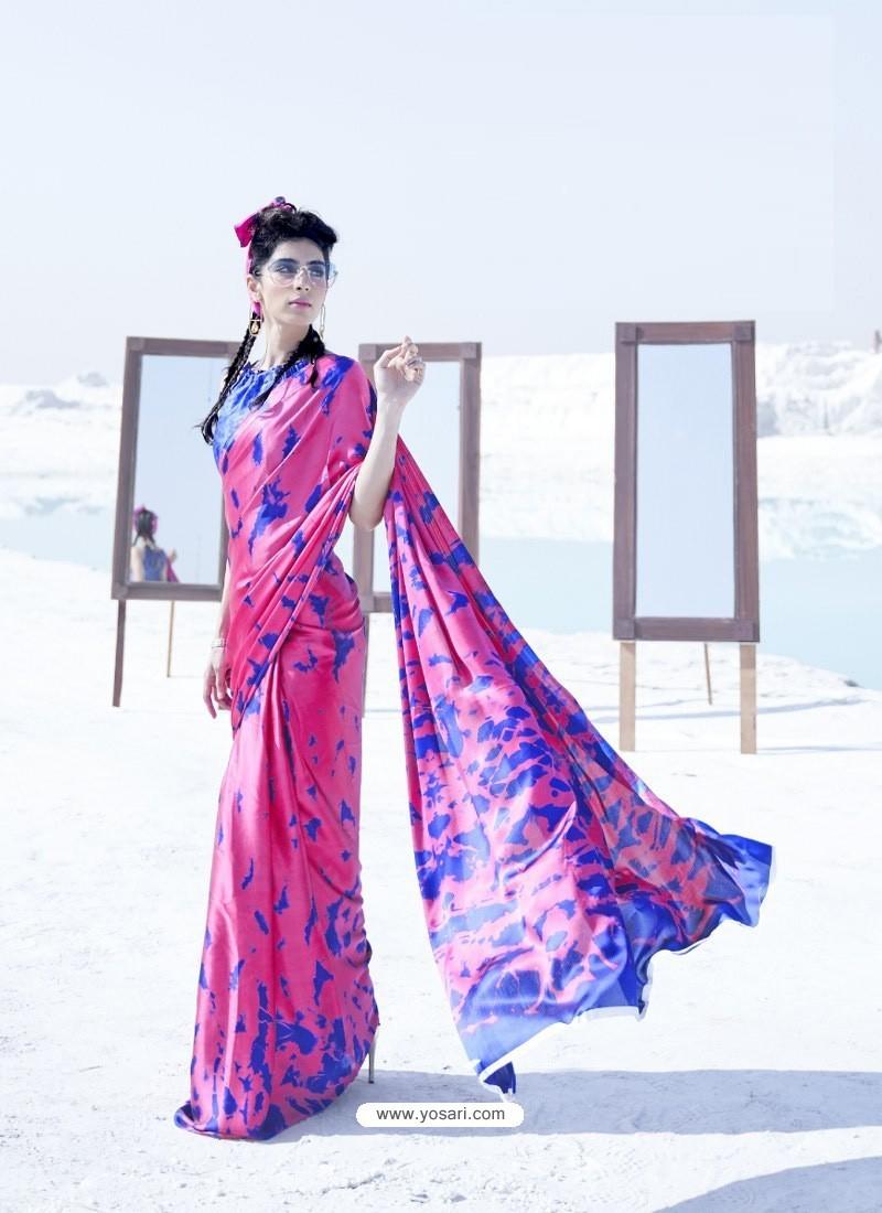 Hot Pink Latest Casual Designer Japan Satin Crepe Sari