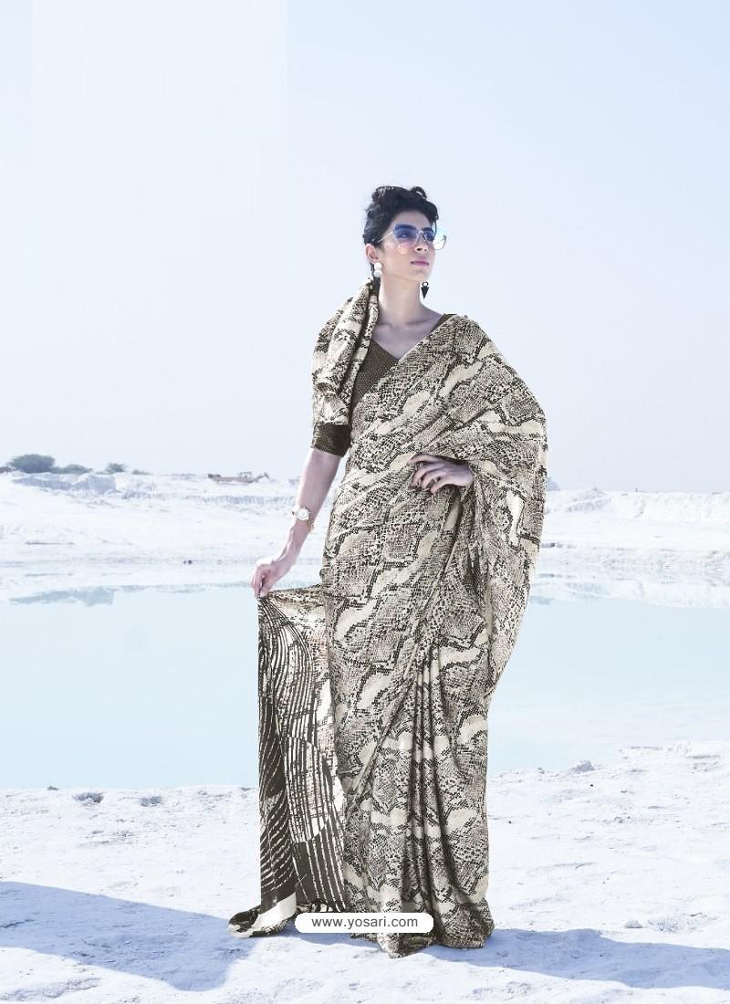 Camel Latest Casual Designer Japan Satin Crepe Sari