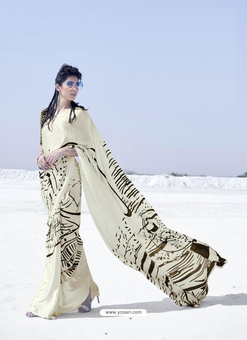 Off White Latest Casual Designer Japan Satin Crepe Sari