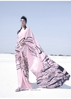 Baby Pink Latest Casual Designer Japan Satin Crepe Sari