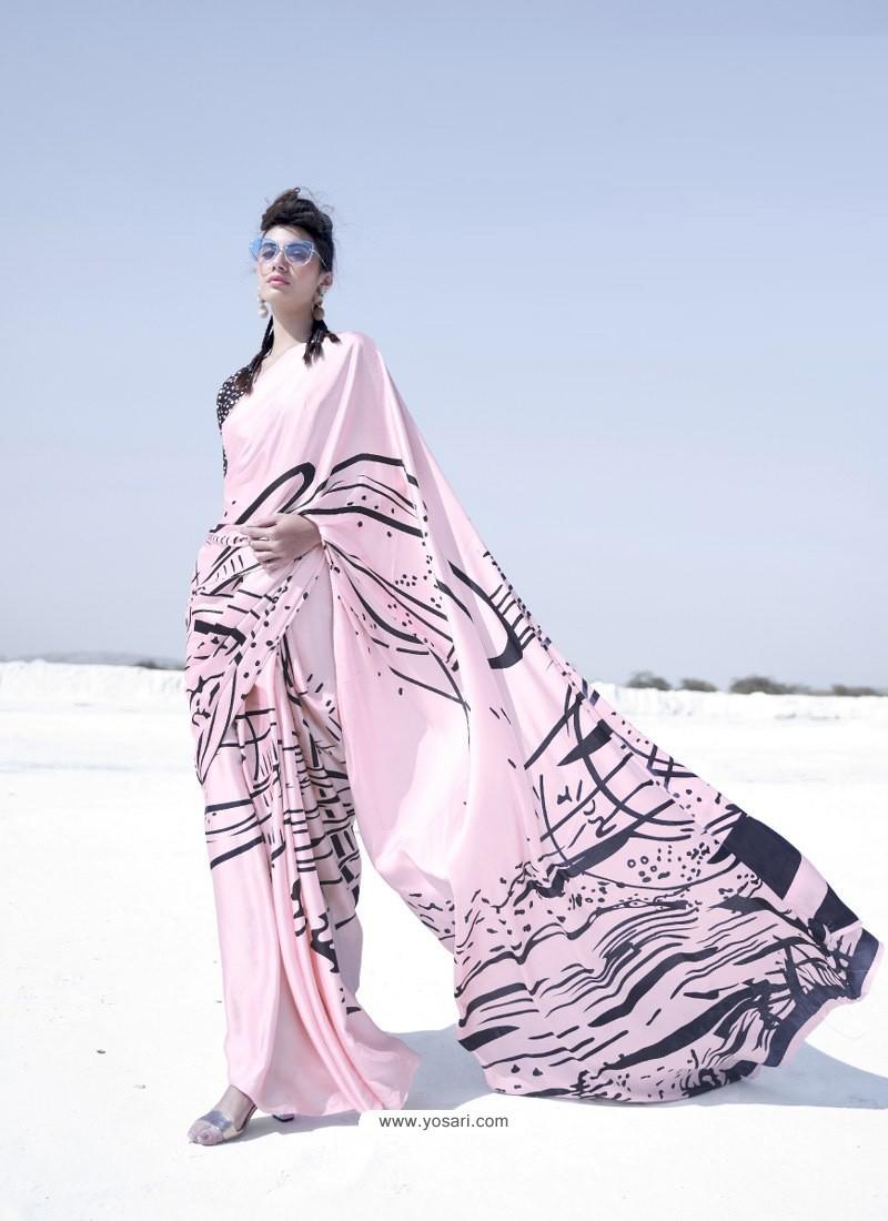 Baby Pink Latest Casual Designer Japan Satin Crepe Sari