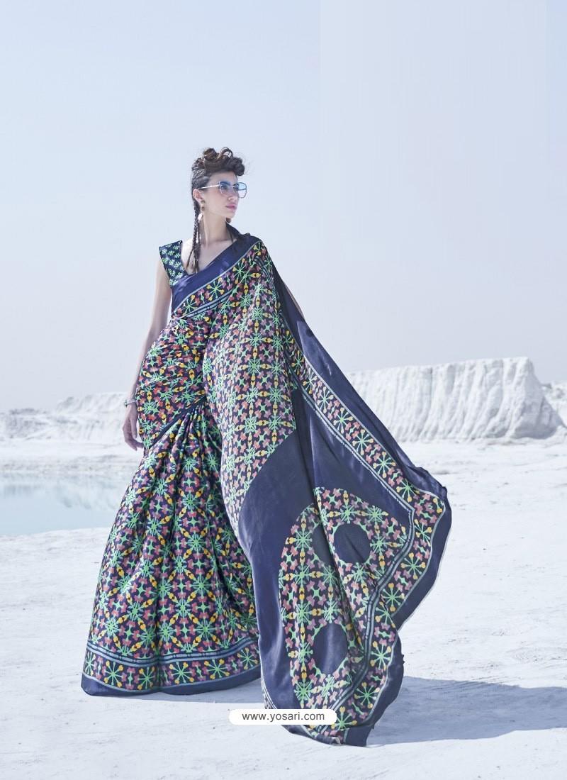 Dark Blue Latest Casual Designer Japan Satin Crepe Sari