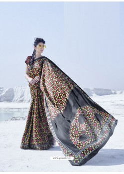 Black Latest Casual Designer Japan Satin Crepe Sari