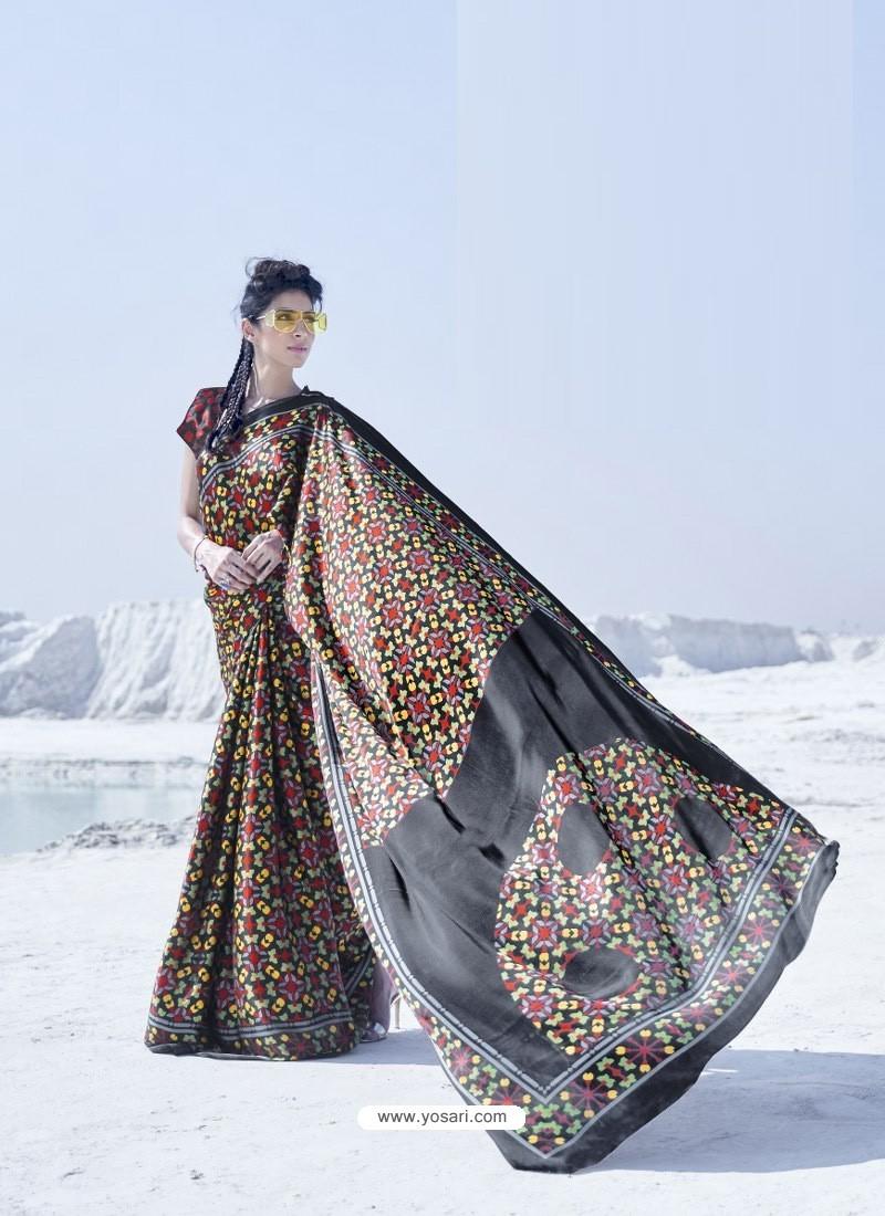 Black Latest Casual Designer Japan Satin Crepe Sari